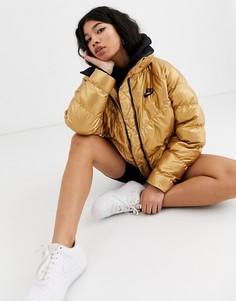Золотистая дутая куртка с высоким воротником Nike-Золотой