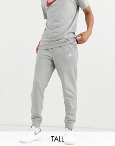 Серые джоггеры с кромкой манжетом Nike Tall Club-Серый