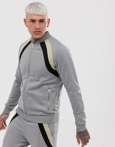 Спортивный бомбер со вставками Couture Club-Серый