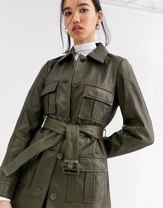 Лакированная кожаная куртка оливкового цвета с поясом Muubaa-Зеленый