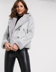 Светло-серая куртка из искусственной замши River Island-Серый
