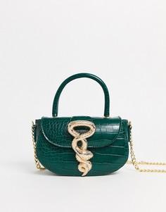Зеленая сумка с крокодиловым рисунком Sacred Hawk-Зеленый