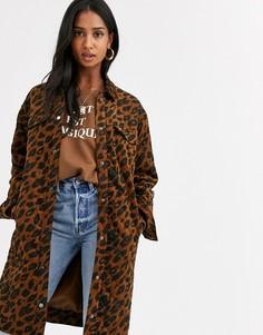 Длинное вельветовое пальто с леопардовым принтом Ichi-Мульти