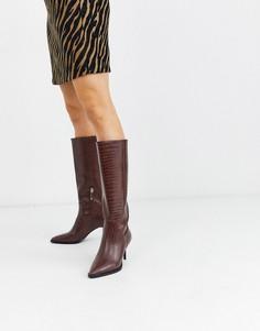 Коричневые сапоги на каблуке-шпильке River Island-Светло-коричневый