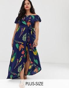 Темно-синее платье с открытыми плечами и цветочным принтом Influence Plus-Темно-синий