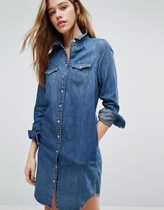 Джинсовое платье-рубашка в стиле вестерн Levis-Синий