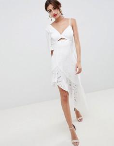 Кружевное платье миди с вышивкой ASOS DESIGN-Белый
