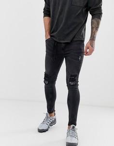 Зауженные рваные джинсы с веревочным поясом Night Addict-Черный