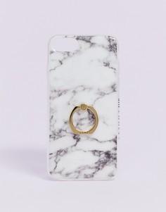 Чехол с мраморным рисунком и кольцом для iPhone 6/7/8/s/6 Plus/7 Plus/iPhoneX от Skinnydip Crash-Белый