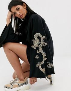 Трикотажное платье с молнией и вышитым драконом на рукавах ASOS DESIGN-Черный