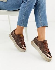 Кроссовки на шнуровке с эффектом металлик и отделкой под змеиную кожу XTI-Медный