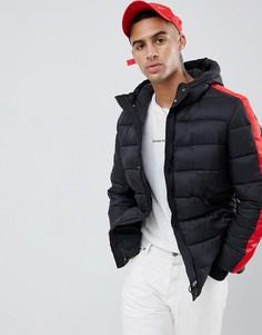 Дутая куртка с красными полосками Sixth June-Черный