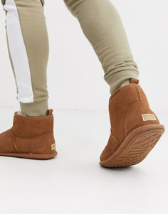 Светло-коричневые замшевые ботинки-слиперы Just Sheepskin-Светло-коричневый