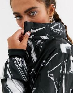Черная куртка на молнии со светоотражающим принтом Nike Running aeroshield-Черный