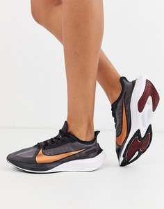 Черные кроссовки с логотипом-галочкой Nike Running air zoom gravity-Черный