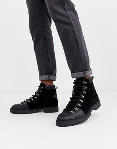 Кожаные походные ботинки черного цвета ASOS DESIGN-Черный