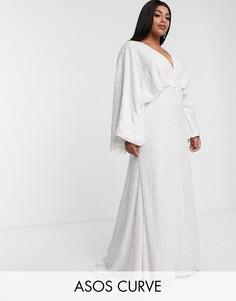 Свадебное платье с пайетками и широкими рукавами ASOS EDITION Curve-Белый