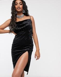 Черное бархатное платье миди с высоким разрезом Ivyrevel-Черный