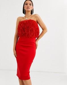Платье-бандо миди с отделкой искусственными перьями ASOS DESIGN-Красный