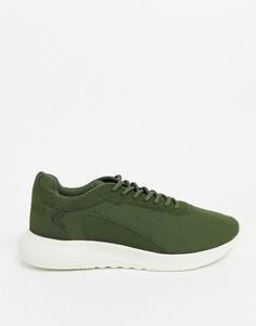Кроссовки цвета хаки с трикотажным верхом Bershka-Зеленый