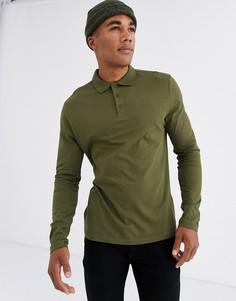 Трикотажное поло цвета хаки с длинными рукавами из органического хлопка ASOS DESIGN-Зеленый