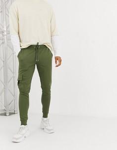 Суженные книзу джоггеры с карманами карго ASOS DESIGN-Зеленый