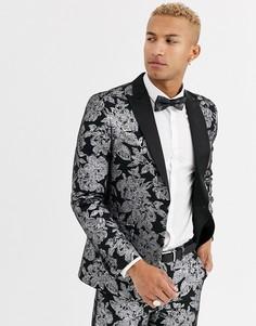 Узкий пиджак с цветочным принтом и эффектом металлик Tux Til Dawn-Черный