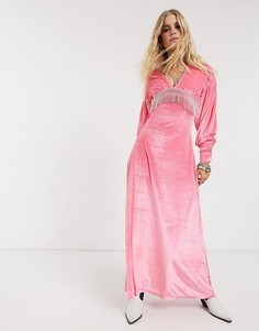 Бархатное платье макси с отделкой стразами ASOS DESIGN-Розовый