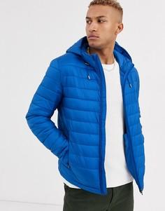 Ярко-синяя стеганая куртка с капюшоном Celio-Синий