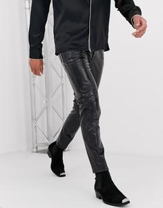 Черные джинсы скинни со змеиным эффектом ASOS DESIGN-Черный