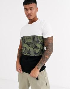 Черная футболка с камуфляжной отделкой Jack & Jones Originals-Черный