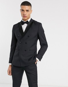 Черный двубортный пиджак-смокинг Jack & Jones Premium
