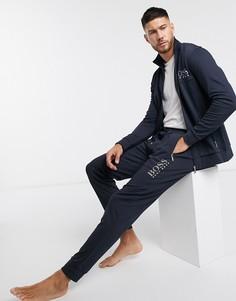 Темно-синие джоггеры с манжетами и логотипом металлик BOSS bodywear-Темно-синий