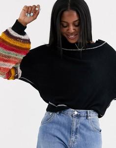 Джемпер с полосками на рукавах Free People-Черный