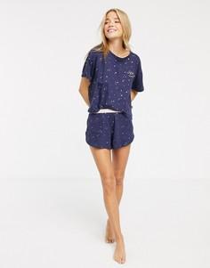 Синяя пижама с шортами и звездным принтом New Look-Синий