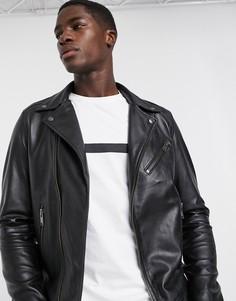 Черная кожаная байкерская куртка Selected Homme-Черный