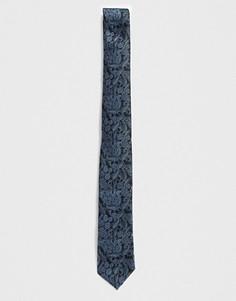 Черный галстук с цветочным принтом Twisted Tailor