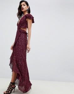 Платье макси с открытой спиной и пайетками ASOS DESIGN-Красный