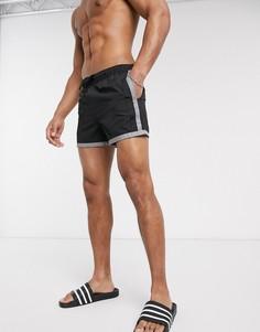 Короткие шорты для плавания со светоотражающими вставками ASOS DESIGN-Черный