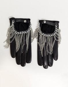 Кожаные перчатки для сенсорных экранов с цепочкой ASOS DESIGN-Черный