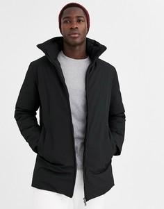Черная длинная дутая премиум-куртка со скрытым капюшоном Jack & Jones-Черный
