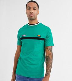 Зеленая полосатая футболка с воротом в рубчик ellesse Tall Lamora эксклюзивно для ASOS-Зеленый