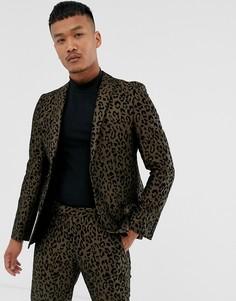 Приталенный пиджак с леопардовым принтом Tux Til Dawn-Коричневый
