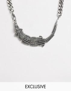 Серебристая короткая цепочка с отделкой в виде крокодила Reclaimed Vintage inspired эксклюзивно для ASOS-Серебряный