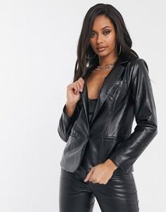 Пиджак из искусственной кожи Unique21-Черный