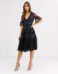 Кружевное платье миди Needle & Thread-Черный