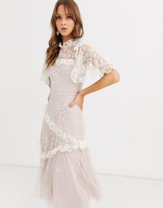 Розовое кружевное платье миди с вышивкой Needle & Thread-Розовый