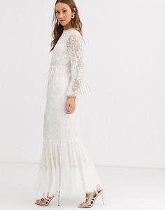 Платье макси цвета слоновой кости с длинными рукавами Needle & Thread-Белый
