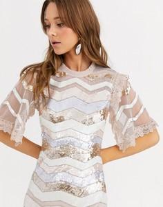 Платье миди с пайетками и кружевными рукавами Needle & Thread-Мульти