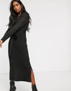 Трикотажное платье макси в рубчик с блестками Lost Ink-Черный